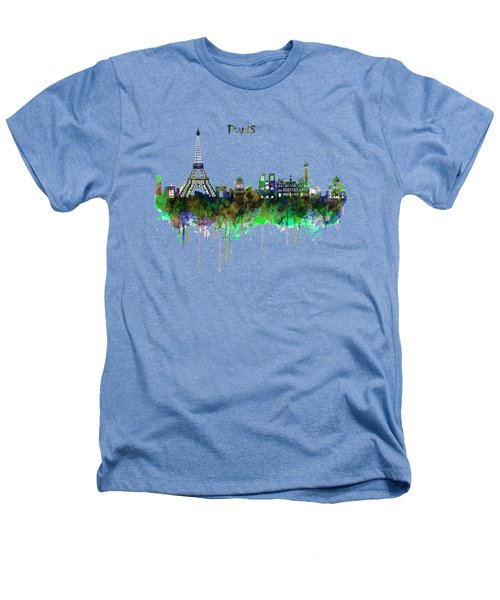 Paris Skyline Watercolor Heathers T-Shirt by Marian Voicu