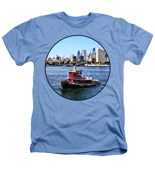 Philadelphia Pa - Tugboat By Philadelphia Skyline Heathers T-Shirt by Susan Savad