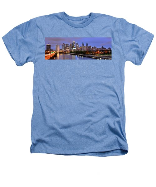 Philadelphia Philly Skyline At Dusk From Near South Color Panorama Heathers T-Shirt by Jon Holiday