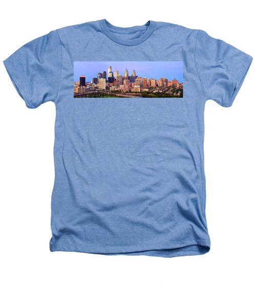Philadelphia Skyline At Dusk Sunset Pano Heathers T-Shirt by Jon Holiday
