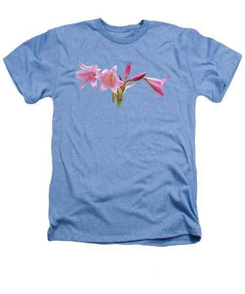 Pink Lilies On Black Heathers T-Shirt by Gill Billington
