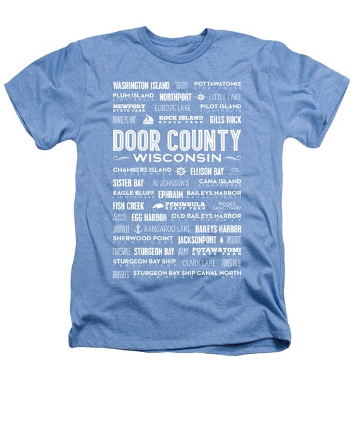 Places Of Door County On Blue Heathers T-Shirt