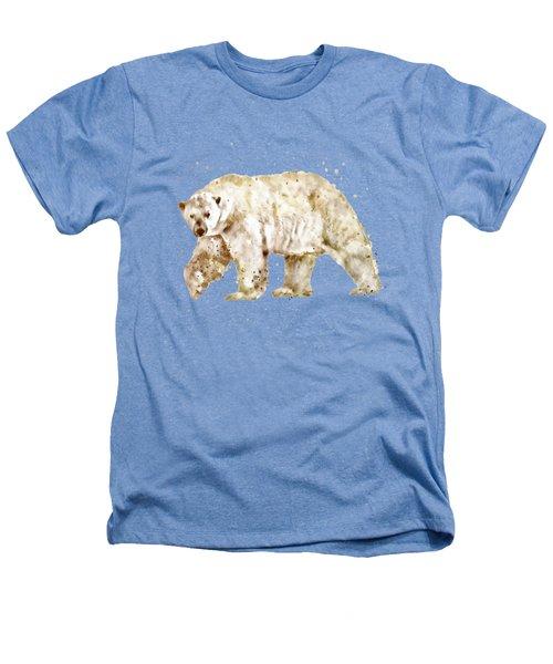 Polar Bear Watercolor Heathers T-Shirt by Marian Voicu