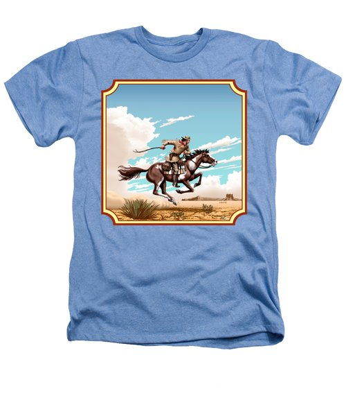 Pony Express Rider - Western Americana - Square Format Heathers T-Shirt by Walt Curlee