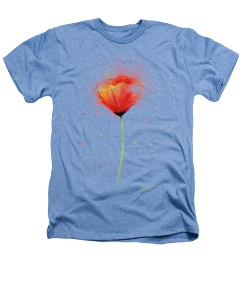 Poppy Watercolor Red Abstract Flower Heathers T-Shirt by Olga Shvartsur