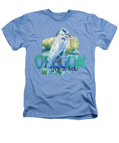 Puddletown Great Blue Heron Heathers T-Shirt by Kara Skye