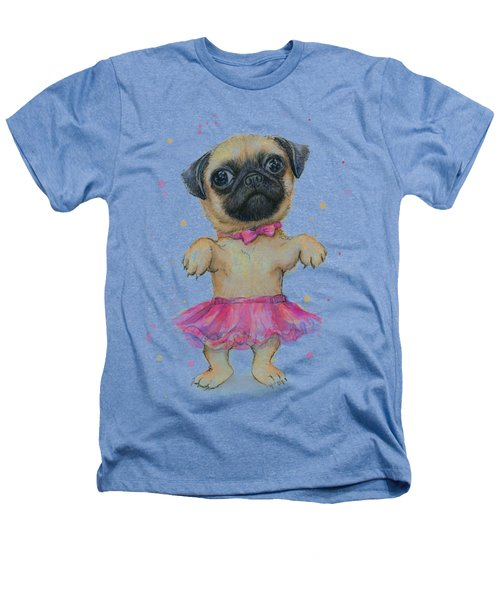 Pug In A Tutu Heathers T-Shirt by Olga Shvartsur