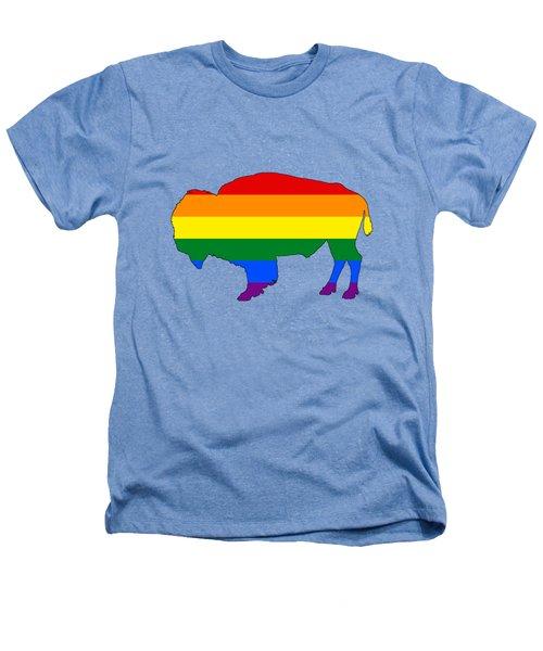 Rainbow Bison Heathers T-Shirt by Mordax Furittus