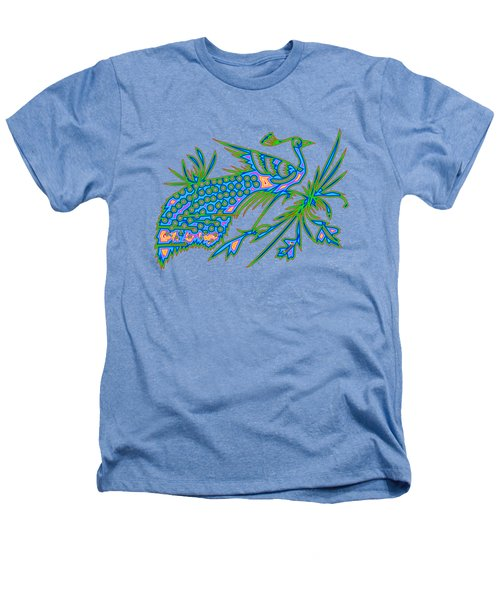Rainbow Multicolored Peacock On A Branch Heathers T-Shirt