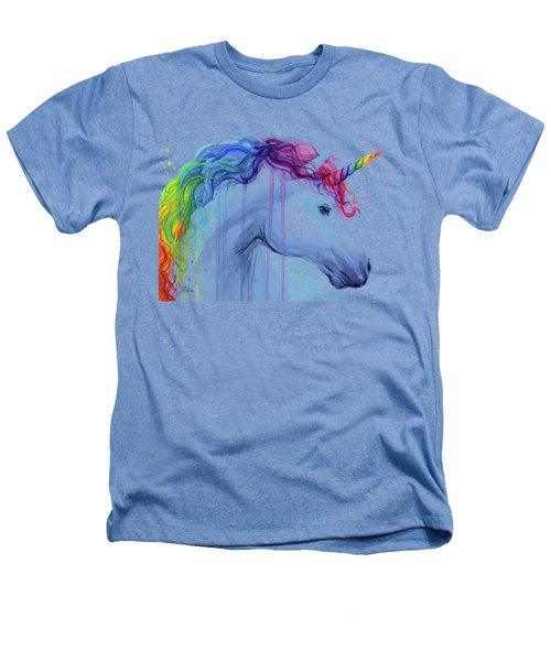 Rainbow Unicorn Watercolor Heathers T-Shirt