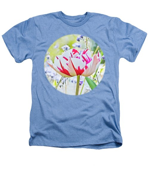 Red And White Tulip Heathers T-Shirt by Terri Waters