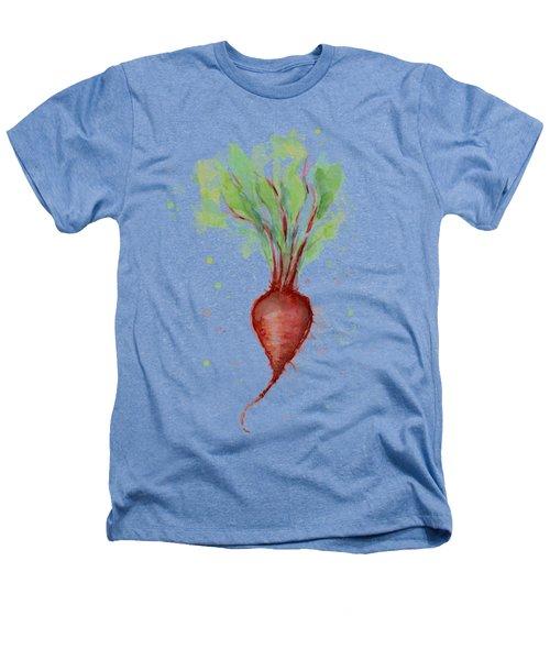 Red Beet Watercolor Heathers T-Shirt by Olga Shvartsur