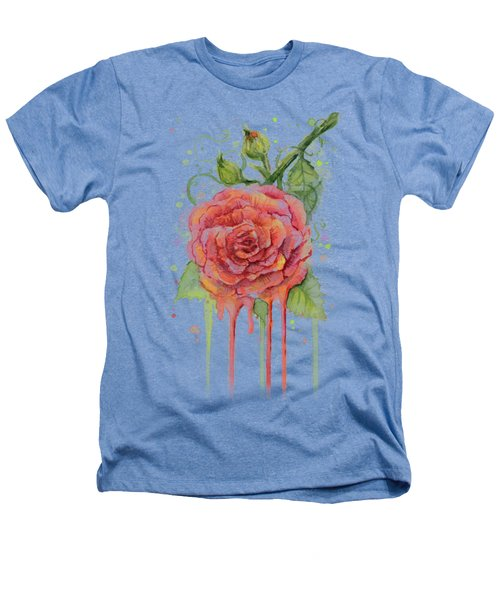 Red Rose Dripping Watercolor  Heathers T-Shirt by Olga Shvartsur