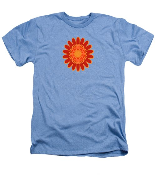 Red Sunflower Pattern Heathers T-Shirt by Methune Hively