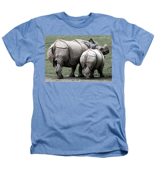Rhinoceros Mother And Calf In Wild Heathers T-Shirt