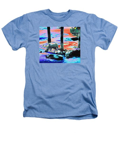 Rhinos Having A Picnic Heathers T-Shirt by Abstract Angel Artist Stephen K