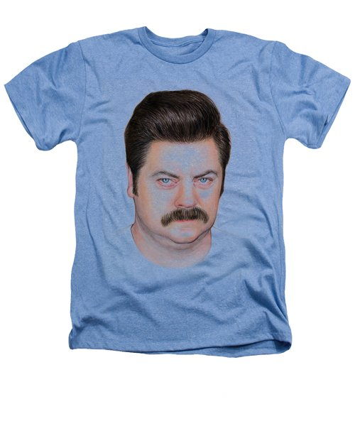 Ron Swanson Portrait Nick Offerman Heathers T-Shirt by Olga Shvartsur