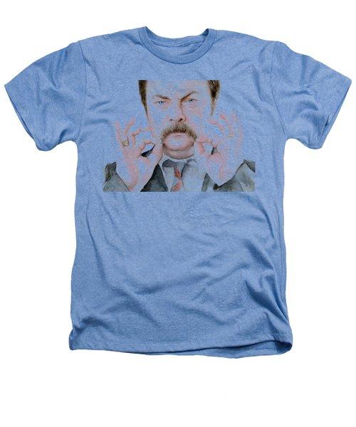 Ron Swanson Mustache Portrait Heathers T-Shirt by Olga Shvartsur