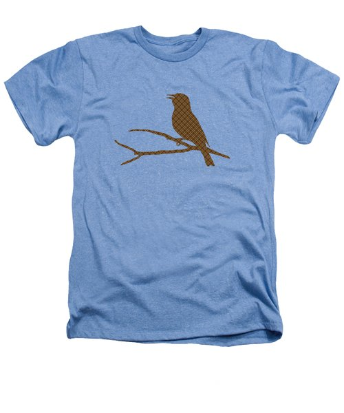 Rustic Brown Bird Silhouette Heathers T-Shirt by Christina Rollo