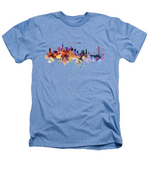 San Francisco Watercolor Skyline Heathers T-Shirt by Marian Voicu