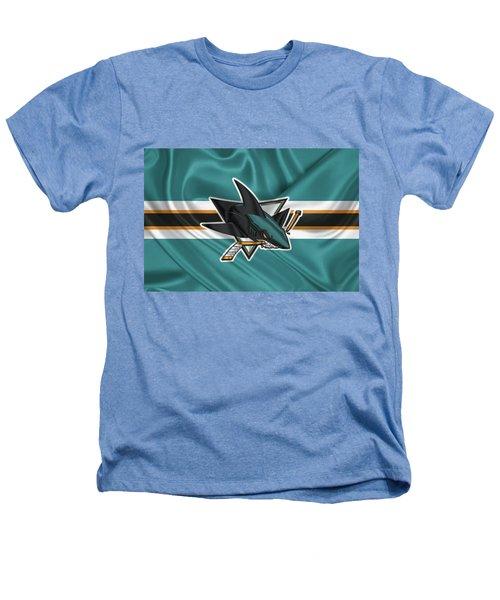 San Jose Sharks - 3 D Badge Over Silk Flagsan Jose Sharks - 3 D Badge Over Silk Flag Heathers T-Shirt