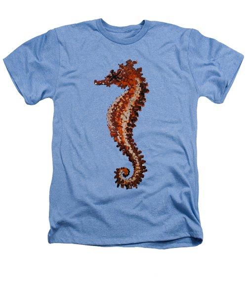 Brown Seahorse Bathroom Decor Art Print Heathers T-Shirt by Jurgita