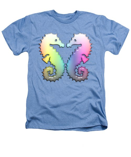 Seahorse Tango Soft Rainbow Drops Heathers T-Shirt by Di Designs