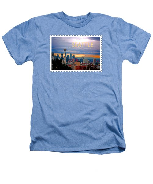 Seattle At Sunset Text Seattle Heathers T-Shirt by Elaine Plesser