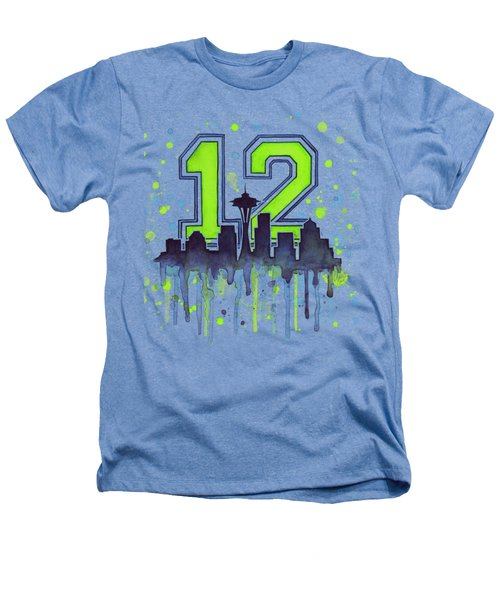 Seattle Seahawks 12th Man Art Heathers T-Shirt by Olga Shvartsur
