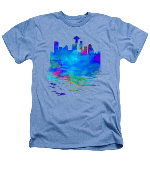 Seattle Skyline, Blue Tones On White Heathers T-Shirt by Pamela Saville