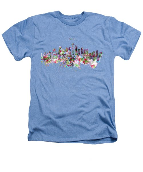 Seattle Skyline Silhouette Heathers T-Shirt by Marian Voicu