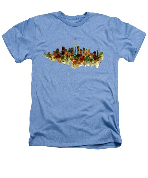 Seattle Watercolor Skyline Poster Heathers T-Shirt