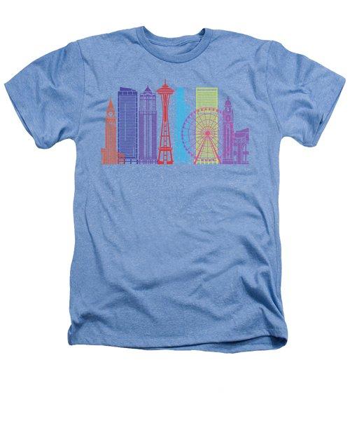 Seattle_v2 Skyline Pop Heathers T-Shirt by Pablo Romero
