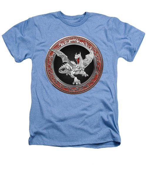 Silver Guardian Dragon Over White Leather Heathers T-Shirt