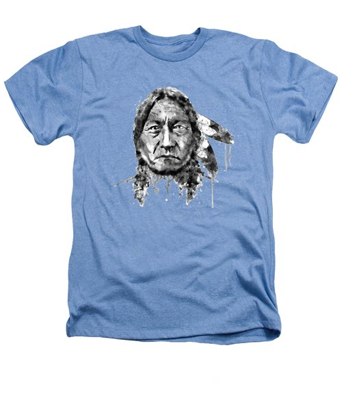 Sitting Bull Black And White Heathers T-Shirt by Marian Voicu