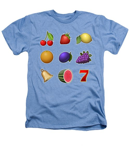 Slot Machine Fruit Symbols Heathers T-Shirt by Miroslav Nemecek