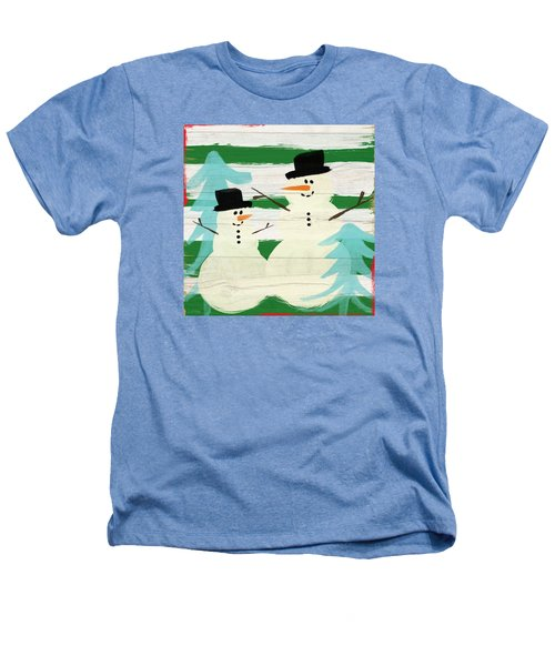 Snowmen With Blue Trees- Art By Linda Woods Heathers T-Shirt