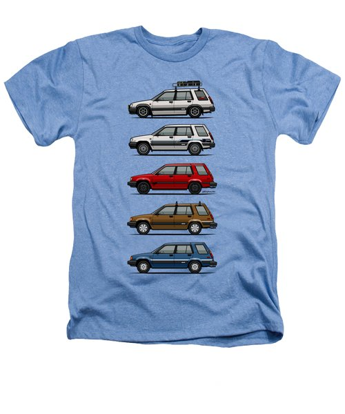 Stack Of Toyota Tercel Sr5 4wd Al25 Wagons Heathers T-Shirt by Monkey Crisis On Mars