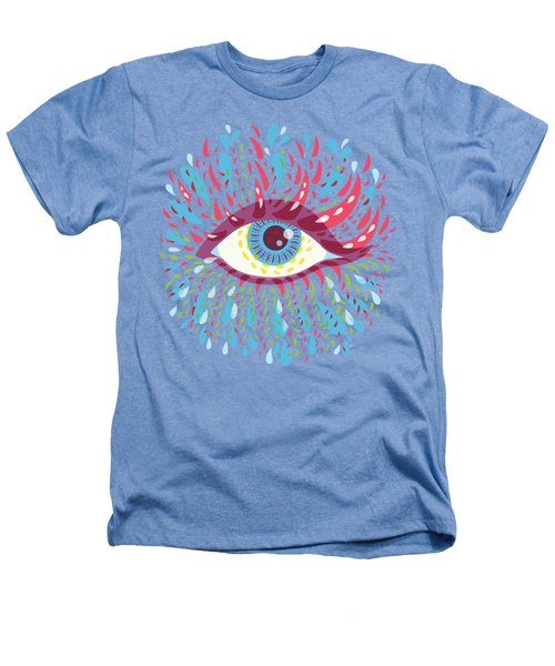 Strange Blue Psychedelic Eye Heathers T-Shirt by Boriana Giormova