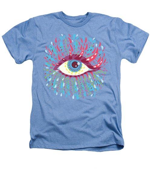 Strange Blue Psychedelic Eye Heathers T-Shirt