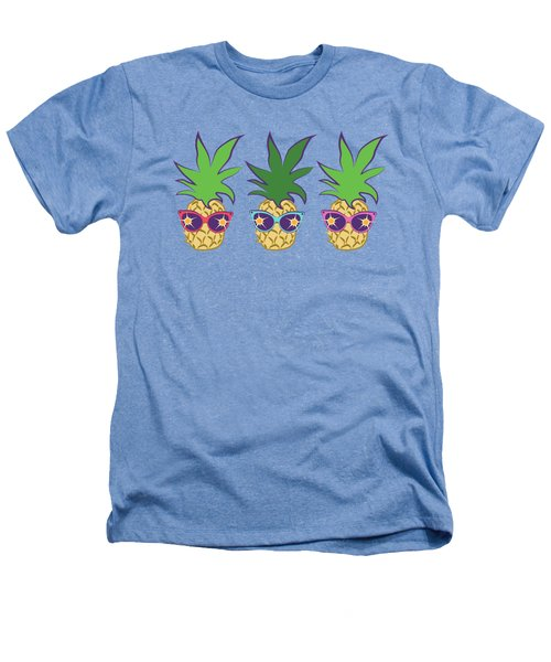 Summer Pineapples Wearing Retro Sunglasses Heathers T-Shirt by MM Anderson