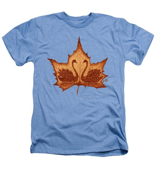 Swans Love On Maple Leaf Original Coffee Painting Heathers T-Shirt by Georgeta Blanaru