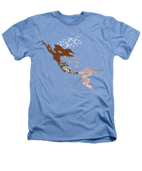 Swimming With The Fishes A Brown Mermaid Racing Rose Gold Fish Heathers T-Shirt by Tina Lavoie