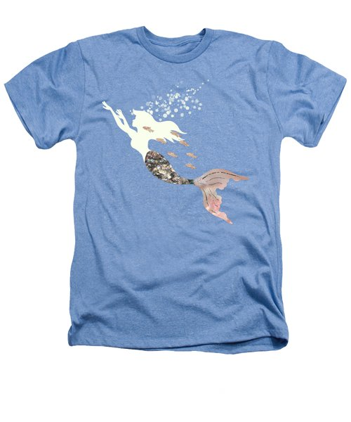 Swimming With The Fishes A White Mermaid Racing Rose Gold Fish Heathers T-Shirt by Tina Lavoie