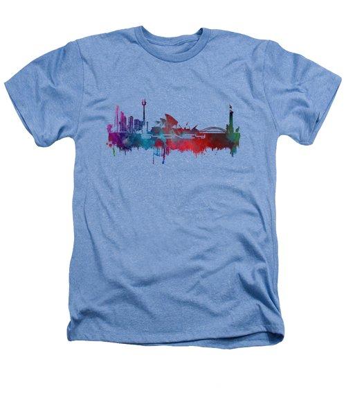 Sydney Skyline City Blue Heathers T-Shirt by Justyna JBJart