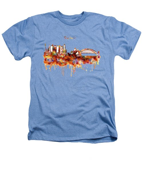 Sydney Watercolor Skyline Heathers T-Shirt by Marian Voicu