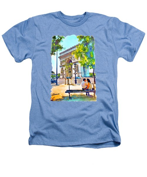 The Arc De Triomphe Paris Heathers T-Shirt by Marian Voicu