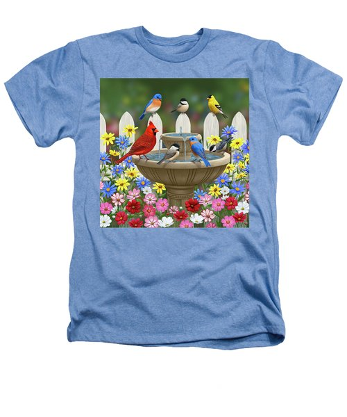 The Colors Of Spring - Bird Fountain In Flower Garden Heathers T-Shirt
