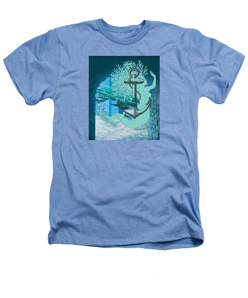 The Mermaid The Anchor And School Of Fish In The Underwater Ruins Heathers T-Shirt by Sandra McGinley