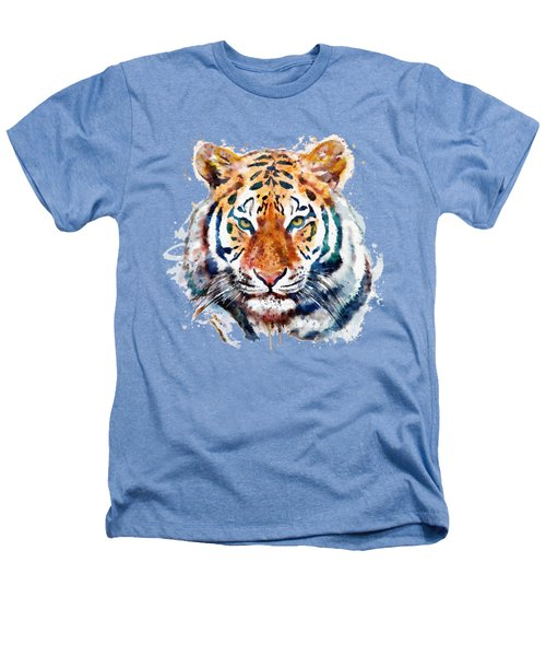 Tiger Head Watercolor Heathers T-Shirt by Marian Voicu